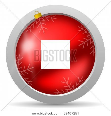 stop red glossy christmas icon on white background