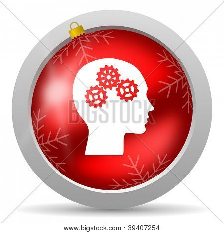 head red glossy christmas icon on white background