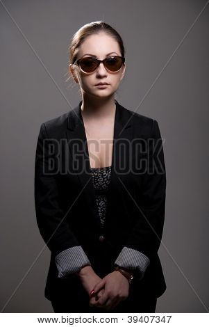 Portrait Of A Beautiful Woman Wearing Sunglasses