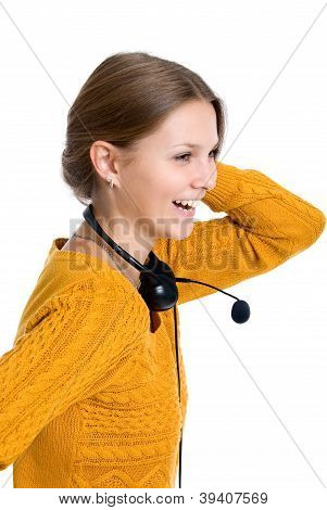 Beautiful Young Laughing Cheerful Woman With Headphones With Microphone
