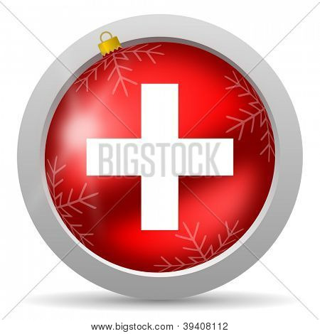 emergency red glossy christmas icon on white background