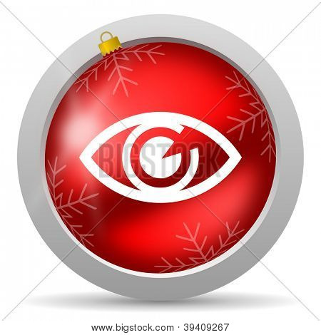 eye red glossy christmas icon on white background