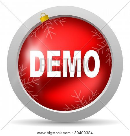 demo red glossy christmas icon on white background