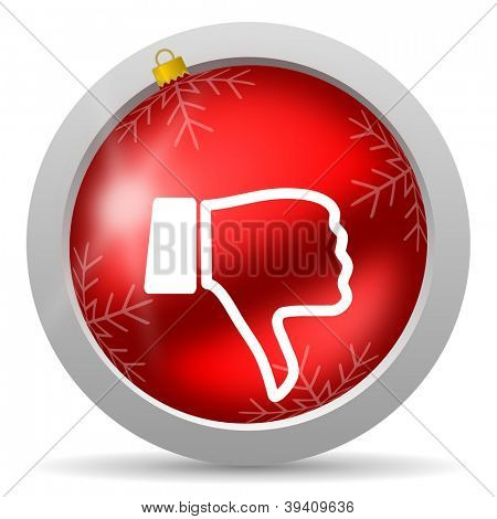 thumb down red glossy christmas icon on white background