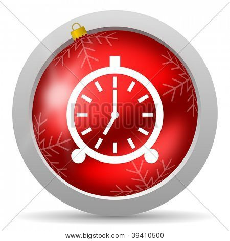 alarm clock red glossy christmas icon on white background