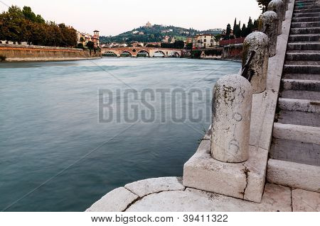 View Of Adige River And Saint Peter Bridge In Verona, Veneto, Italy