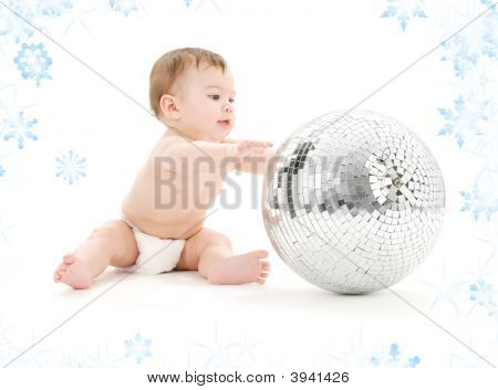 Adorable Baby Boy With Big Disco Ball