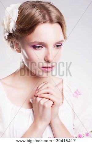 Praying Sensual Woman. Despair And Hopelessness