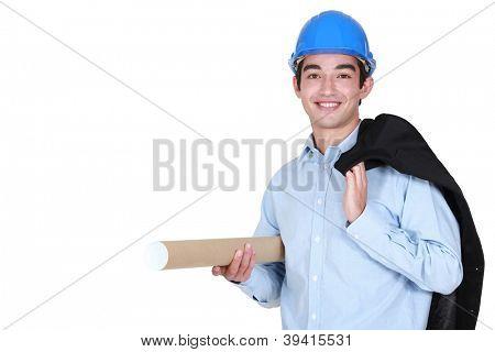 Architect holding wood plane