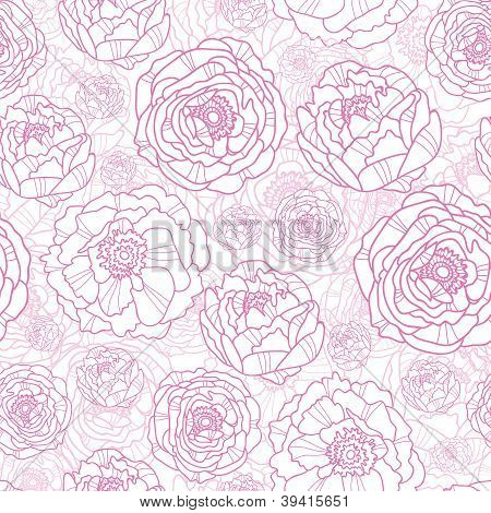 Pink line art flowers seamless pattern background