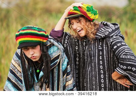 Young rastafarian people on nature