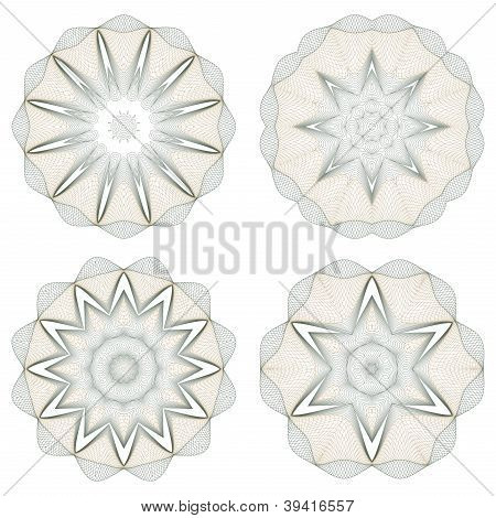Set of vector round guilloche rosettes