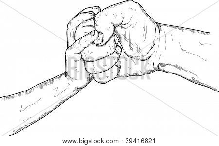 vector - child or a woman's hand to prevent male violence, isolated on background