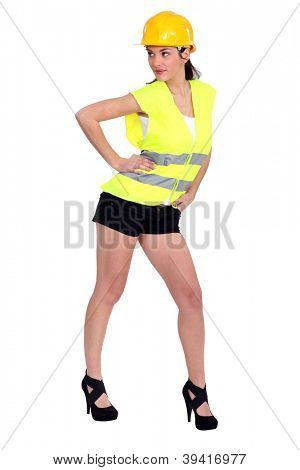 Seductive female construction worker