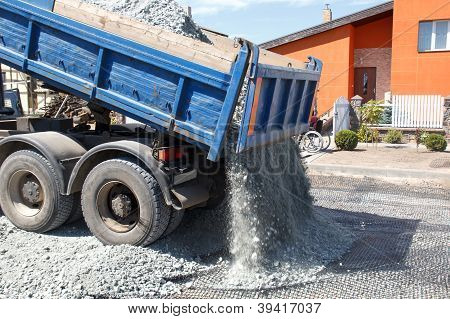 Dumper Unload Crushed Stone