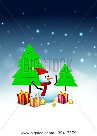 Merry Christmas winter background with snowman, tree and gift boxes. EPS 10.