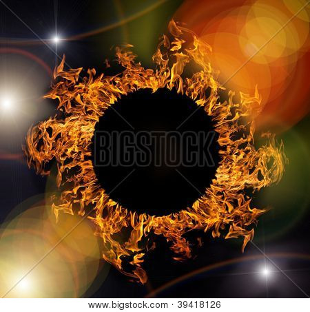 abstract composition with circle of orange flame