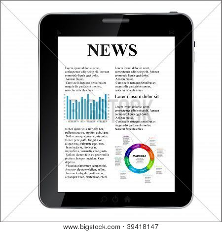 Abstract  design Tablet with news concept. Vector illustration