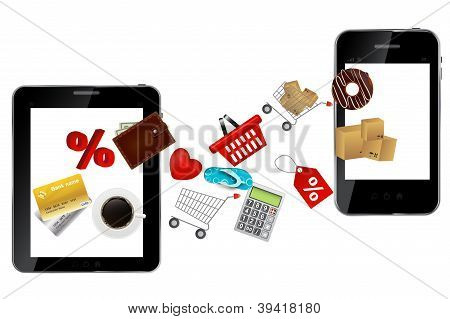 Abstract design mobile phone and tablet with different icons. ve