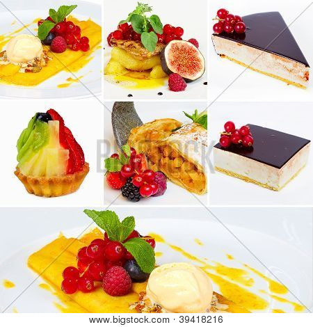 Set Of Restaurant Dishes Or Collage Of Restaurant Dishes (dessert). See Full-size Photos In My Portf