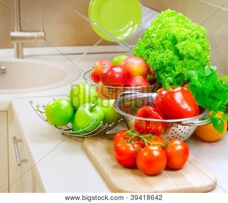 Vegetables on the kitchen table.Healthy Organic Vagetable.Diet.Dieting