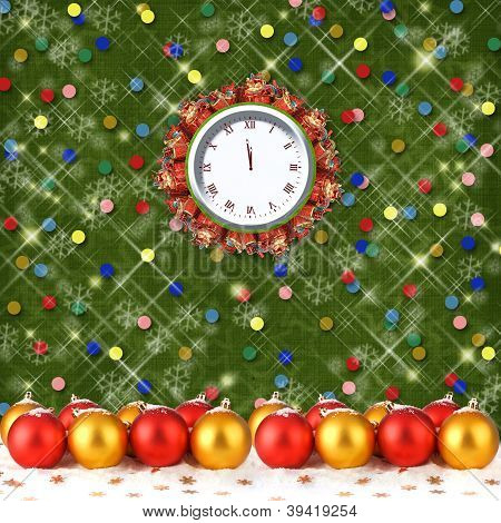 Christmas Balls And Gifts To The Clock On The Abstract Background With Confetti And Stars
