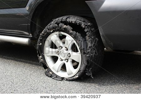 Exploded Truck Tire