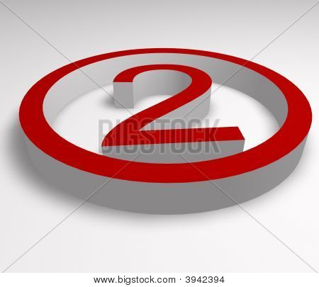Numbers 2 Button In Red