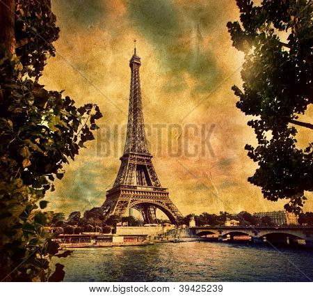 Eiffel Tower in Paris, Fance. Vintage, retro style