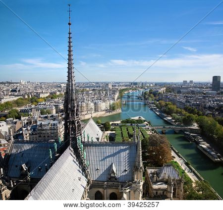 Paris panorama, France. View on Seine river from Notre Dame Cathedral