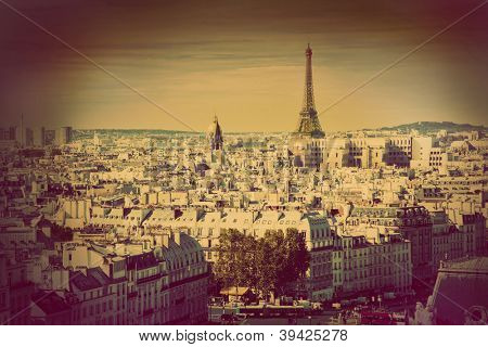Paris panorama, France. View on Eiffel Tower from Notre Dame Cathedral. Retro, vintage