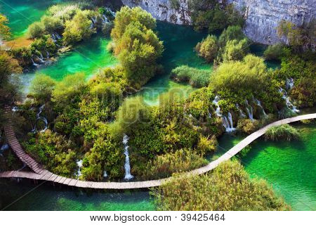 Waterfalls, lakes in forest. Crystal clear water. Plitvice lakes, Croatia