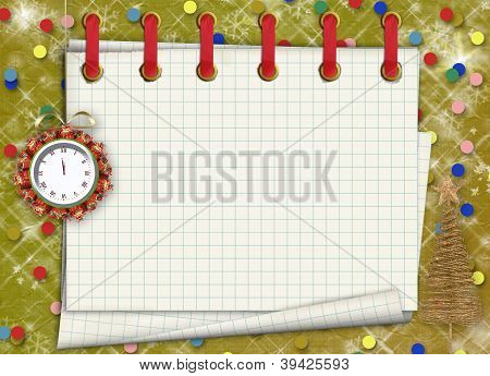 Christmas Gifts To The Clock On The Abstract Background With Confetti And Stars