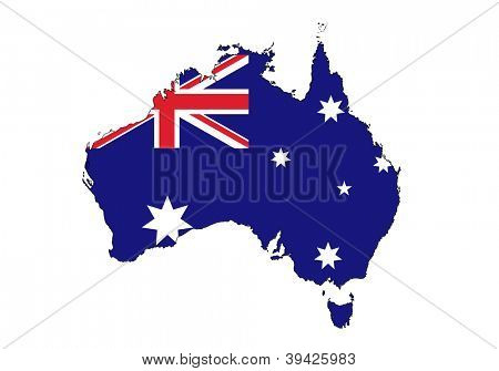 stylized Australia map on white background