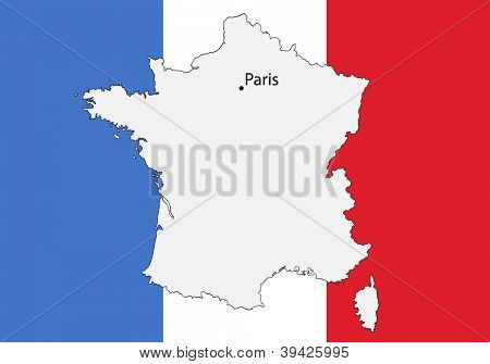 stylized map of France with flag