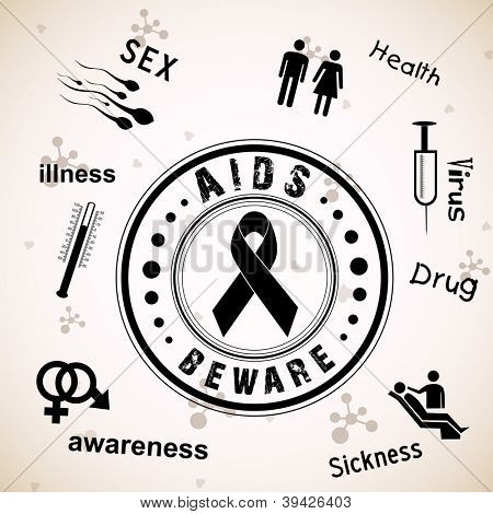 Rubber stamp for World Aids Day background with red ribbon of aids awareness. EPS 10.
