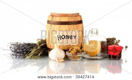 Honey and others natural medicine for winter flue, isolated on white