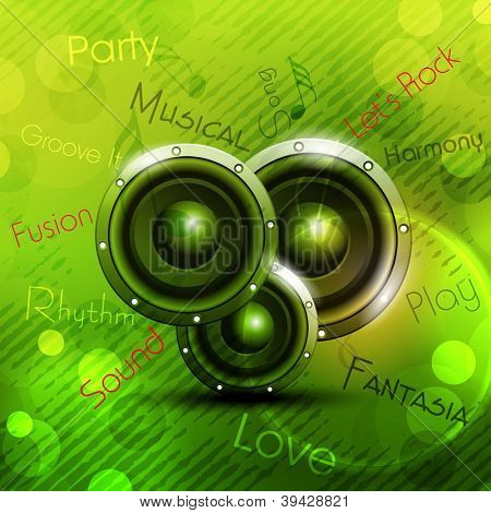 Abstract musical party background with speakers. EPS 10.