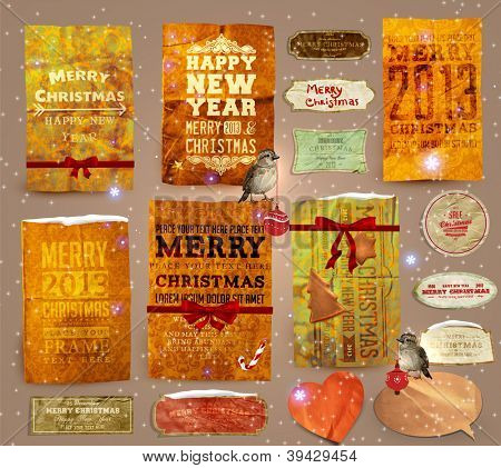 Set of vector Christmas ribbons, old dirty paper textures and vintage new year labels. Elements for Xmas design: birds with baubles, gingerbread, ribbon bows, candy cane, stars and glow snowflakes