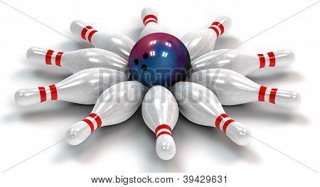 Ten Bowling Pins Down Around A Bowling Ball