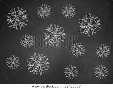 Snowflakes On Chalkboard