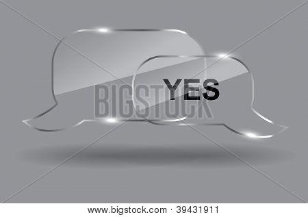 Satz von realistischen Glas Sprechblasen. Vektor-Illustration.