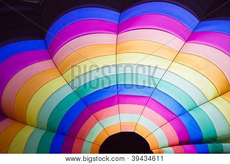 The colorful of hot air balloon inside