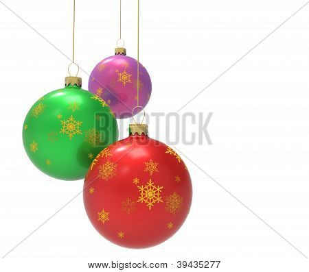 Three multicolored christmas ornaments or baubles