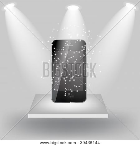 Mobile phone on white shelve on light grey background. Vector  i