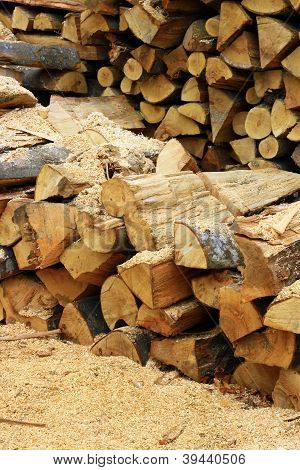 Wood inside sawmill