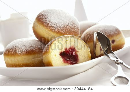 Bismarck donuts filled with raspberry jam