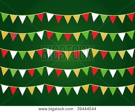 Colorful Christmas Flags Or Bunting Set