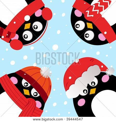 Cute Penguins In Circle On Snowing Background