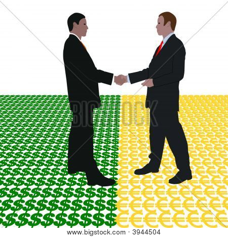 Business Men Meeting With Dollar And Euros